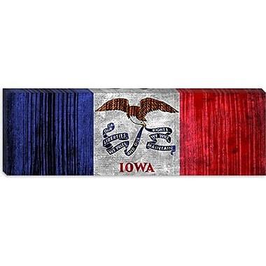 iCanvas Iowa Flag, Grunge Panoramic Graphic Art on Canvas; 16'' H x 48'' W x 1.5'' D