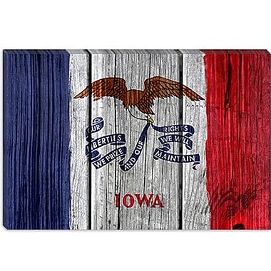 iCanvas Iowa Flag, Wood Planks Graphic Art on Canvas; 8'' H x 12'' W x 0.75'' D