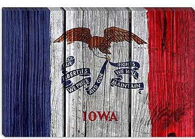 iCanvas Iowa Flag, Wood Planks Graphic Art on Canvas; 12'' H x 18'' W x 0.75'' D