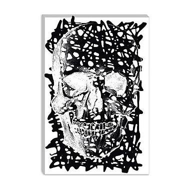 iCanvas Modern Black Splatter Skull Graphic Art on Canvas; 40'' H x 26'' W x 1.5'' D