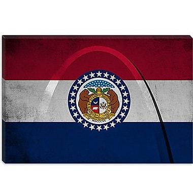 iCanvas Missouri Flag, Grunge Gateway Arch Graphic Art on Canvas; 18'' H x 26'' W x 1.5'' D