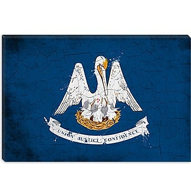iCanvas Louisiana Flag, Grunge Painted Graphic Art on Canvas; 12'' H x 18'' W x 0.75'' D