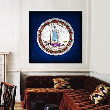 iCanvas Flags Virginia Grunge Graphic Art on Canvas; 12'' H x 12'' W x 0.75'' D