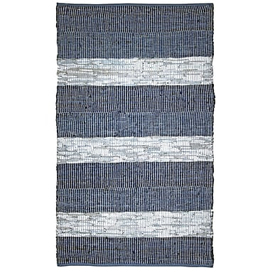 St. Croix Matador Chindi Hand-Woven Cotton Leather Blue Area Rug; 4' x 6'
