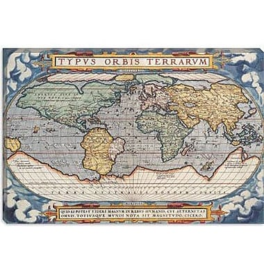 iCanvas Antique Map of The World 1570 Graphic Art on Canvas; 40'' H x 60'' W x 1.5'' D