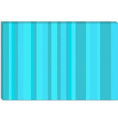 iCanvas Striped Aqua Torquise Cyan Graphic Art on Canvas; 26'' H x 40'' W x 1.5'' D