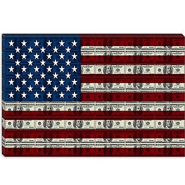 iCanvas American Flag One Hundred Dollar Bill Graphic Art on Canvas; 8'' H x 12'' W x 0.75'' D