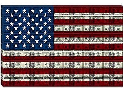 iCanvas American Flag One Hundred Dollar Bill Graphic Art on Canvas; 18'' H x 26'' W x 0.75'' D