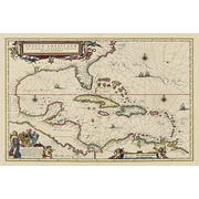 iCanvas Antique Maps West Indies, Central America, 1635 Graphic Art on Wrapped Canvas