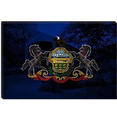 iCanvas Pennsylvania Flag, Grunge Old Bridge Graphic Art on Canvas; 40'' H x 60'' W x 1.5'' D