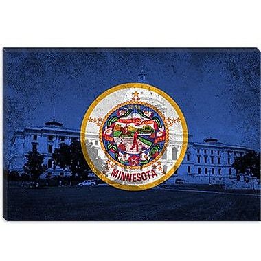 iCanvas Minnesota Flag, Grunge Capitol Building Graphic Art on Canvas; 12'' H x 18'' W x 0.75'' D