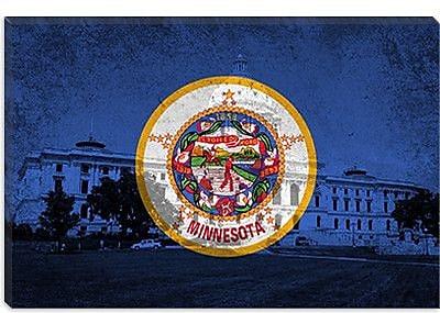 iCanvas Minnesota Flag, Grunge Capitol Building Graphic Art on Canvas; 40'' H x 60'' W x 1.5'' D