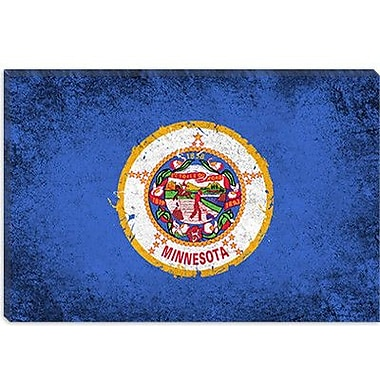 iCanvas Minnesota Flag, Grunge Painted Graphic Art on Canvas; 12'' H x 18'' W x 0.75'' D