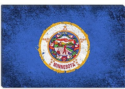 iCanvas Minnesota Flag, Grunge Painted Graphic Art on Canvas; 26'' H x 40'' W x 1.5'' D