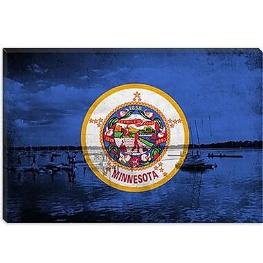 iCanvas Minnesota Flag, Grunge Lake Graphic Art on Canvas; 18'' H x 26'' W x 1.5'' D