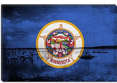iCanvas Minnesota Flag, Grunge Lake Graphic Art on Canvas; 12'' H x 18'' W x 0.75'' D