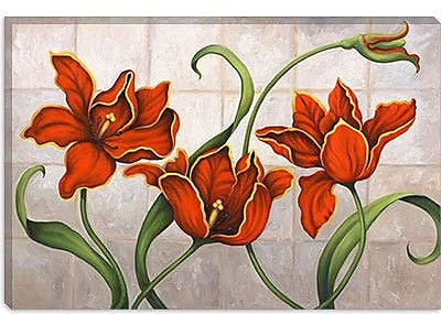 iCanvas 'Parrot Tulips' by John Zaccheo Painting Print on Canvas; 12'' H x 18'' W x 1.5'' D