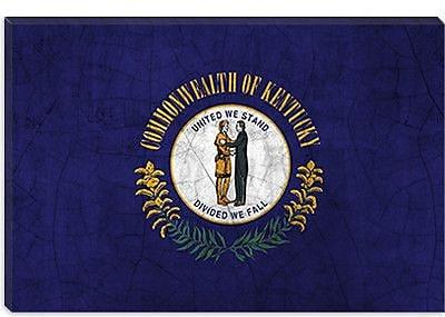 iCanvas Kentucky Flag, Cracks Graphic Art on Canvas; 26'' H x 40'' W x 1.5'' D