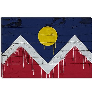 iCanvas Denver Flag, Wood Planks w/ Paint Drips Graphic Art on Canvas; 12'' H x 18'' W x 1.5'' D