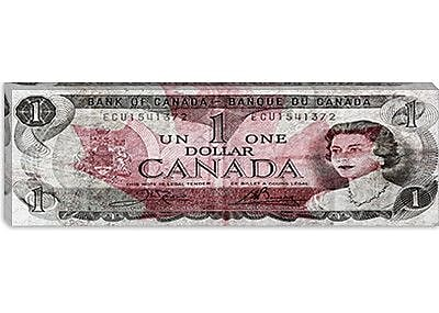 iCanvas One Canadian Dollar 2 Panoramic Graphic Art on Canvas; 12'' H x 36'' W x 1.5'' D