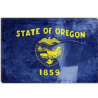 iCanvas Oregon Flag, Multnomah Falls Graphic Art on Canvas; 26'' H x 40'' W x 0.75'' D