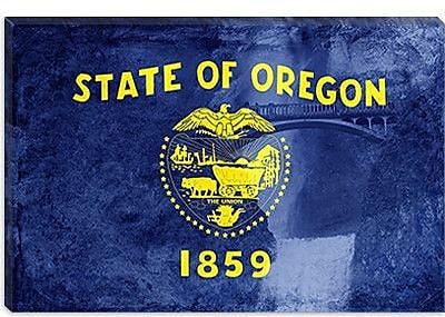 iCanvas Oregon Flag, Multnomah Falls Graphic Art on Canvas; 12'' H x 18'' W x 0.75'' D