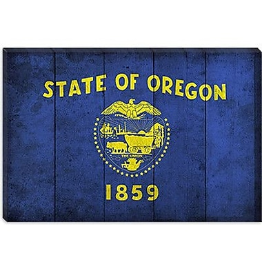 iCanvas Oregon Flag, Planks w/ Grunge Graphic Art on Canvas; 26'' H x 40'' W x 0.75'' D