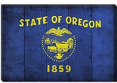 iCanvas Oregon Flag, Planks w/ Grunge Graphic Art on Canvas; 26'' H x 40'' W x 1.5'' D