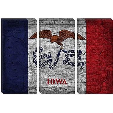 iCanvas Iowa Flag, Map w/ Grunge Graphic Art on Canvas; 18'' H x 26'' W x 0.75'' D