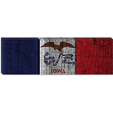 iCanvas Iowa Flag, Wood Planks Panoramic Graphic Art on Canvas; 12'' H x 36'' W x 1.5'' D