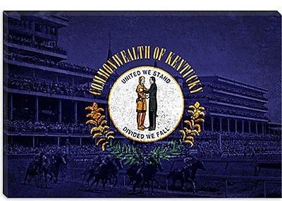 iCanvas Kentucky Flag, the Kentucky Derby Graphic Art on Canvas; 26'' H x 40'' W x 0.75'' D
