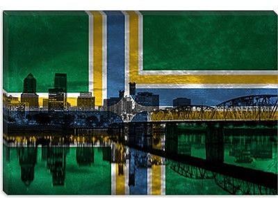 iCanvas Portland Flag, City Skyline Graphic Art on Canvas; 40'' H x 60'' W x 1.5'' D