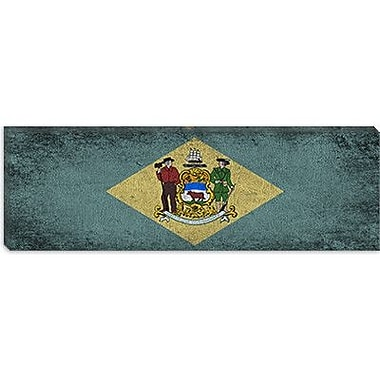 iCanvas Delaware Flag, Panoramic Grunge Painting Print on Canvas; 12'' H x 36'' W x 1.5'' D