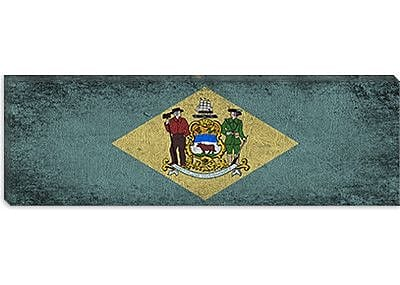 iCanvas Delaware Flag, Panoramic Grunge Painting Print on Canvas; 16'' H x 48'' W x 0.75'' D