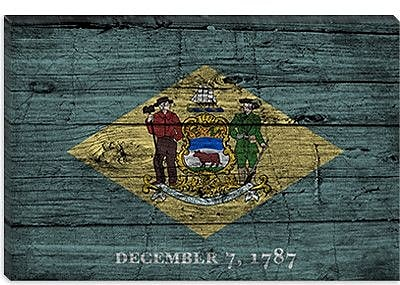 iCanvas Delaware Flag, Grunge Wood Boards Painting Print on Canvas; 26'' H x 40'' W x 1.5'' D