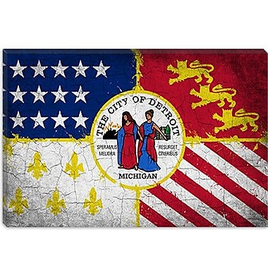 iCanvas Detroit, Michigan Flag - Grunge Painted Painting Print on Canvas; 26'' H x 40'' W x 0.75'' D