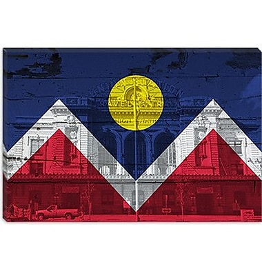 iCanvas Denver Flag, Union Station w/ Wood Planks Graphic Art on Canvas; 18'' H x 26'' W x 1.5'' D