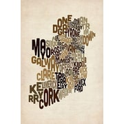iCanvas ''Text Map of Ireland V'' by Michael Tompsett Graphic Art on Wrapped Canvas