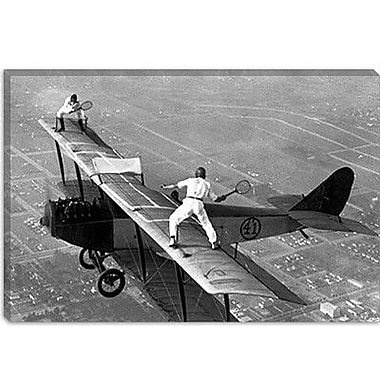 iCanvas Playing Tennis on a Biplane in 1925 Photographic Print on Canvas; 40'' H x 60'' W x 1.5'' D
