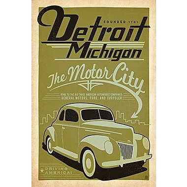 'The Motor City - Detroit Michigan' by Anderson Design Group Vintage Advertisement on Wrapped Canvas