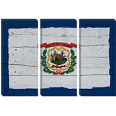 iCanvas Flags West Virginia w/ Wood Planks Graphic Art on Wrapped Canvas; 26'' H x 40'' W x 0.75'' D