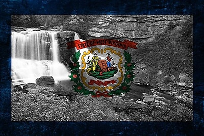 iCanvas Flags West Virginia Blackwater-Falls Graphic Art on Canvas; 40'' H x 60'' W x 1.5'' D