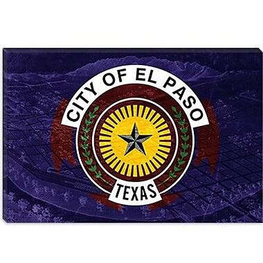 iCanvas El Paso Flag, Vintage Map Graphic Art on Canvas; 18'' H x 26'' W x 0.75'' D