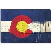iCanvas Colorado Flag, Metal Rivet w/ Paint Drips Graphic Art on Canvas; 40'' H x 60'' W x 1.5'' D