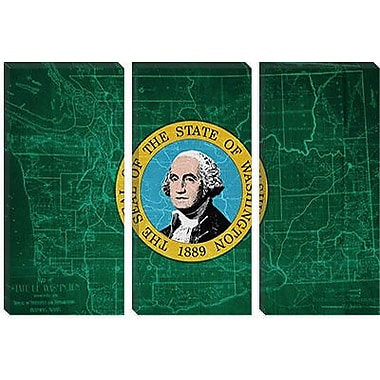 iCanvas Flags Washington Map Graphic Art on Wrapped Canvas; 40'' H x 60'' W x 1.5'' D