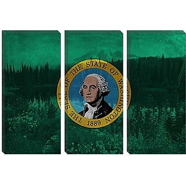 iCanvas Flags Washington Mount Olympus Graphic Art on Wrapped Canvas; 26'' H x 40'' W x 0.75'' D