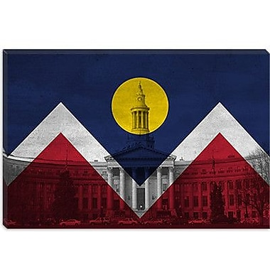 iCanvas Denver Flag, City Hall Panoramic Graphic Art on Canvas; 26'' H x 40'' W x 1.5'' D