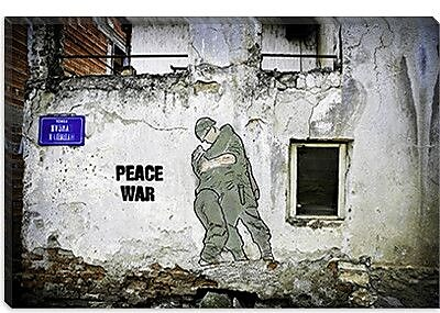 iCanvas ''Peace War'' by Luz Graphics Graphic Art on Canvas; 26'' H x 40'' W x 0.75'' D