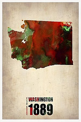 iCanvas Naxart 'Washington Watercolor Map' Graphic Art on Wrapped Canvas; 26'' H x 18'' W x 1.5'' D