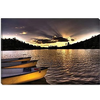 iCanvas 'Yellow Canoes' by Bob Larson Photographic Print on Canvas; 18'' H x 26'' W x 1.5'' D